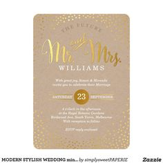 MODERN STYLISH WEDDING mini gold confetti kraft Card