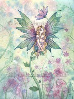 Illustrazione di fantasia di Mystic Garden  fiore fata Giclee