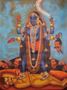 Devi Kali, The Very Picture Of Bloodlust, Oils Oil Painting on CanvasArtist: Anup Gomay Yashoda Krishna, Hanuman, Durga, Mother Kali, Divine Mother, Kali Goddess, Mother Goddess, Goddess Art, Croissant