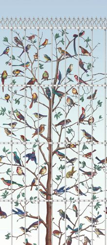 Fornasetti II Uccelli wallpaper by Cole & Son. - I do love this, but I'd love it even more if the birds weren't caged.... Cole and Son have such stunning wallpapers, but a bit... dark at times for kids. But beautiful (and easy to put up I seem to remember).