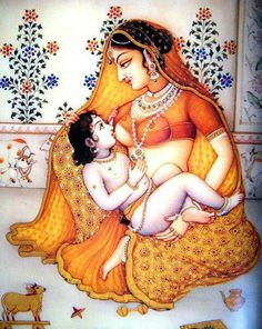 Krishna being breastfed by his foster mother Yashoda Indian Breastfeeding, Breastfeeding Pictures, Extended Breastfeeding, Breastfeeding Tips, Yogi Bhajan, Baby Krishna, Lord Krishna, Shree Krishna, Mother Feeding