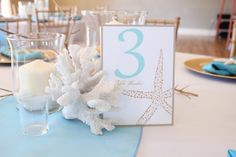Coastal Wedding Centerpiece Idea- Coral, hurricane candles and Table Number Cards Seed Wedding Favors, Vintage Wedding Favors, Winter Wedding Favors, Candle Wedding Favors, Candle Favors, Coastal Wedding Centerpieces, Floral Centerpieces, Wedding Decorations, Beach Wedding Aisles