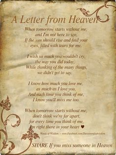 Daveswordsofwisdom.com: Search results for Letter from Heaven--Love this. Want to cry everytime I read it tho. For my husband.