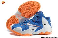 Nike Lebron XI (11) Bleu Blanc Orange Pas cher
