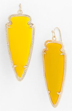 Kendra Scott 'Skylar Spear' Statement Earrings Yellow Onyx
