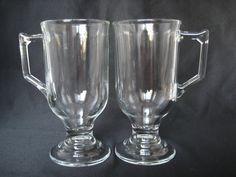 Vintage Pair Clear Glass Irish Coffee Mugs by BelleBloomVintage