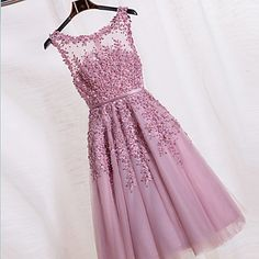 Cocktail Party Dress-Blushing Pink Ball Gown Jewel Tea-length Lace / Tulle – CAD $ 111.19