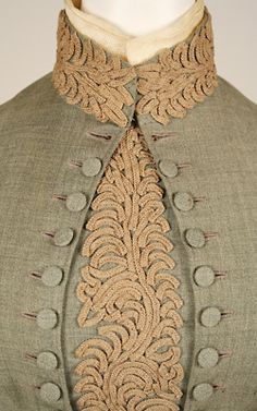 wool wedding dress detail, 1887 via the Met Museum