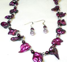 Purple Blister Pearl Statement Necklace and Earrings by lindab142, $51.96 #RT #etsysns