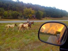 Check out the fire in the mirror....that is Bastrop, Texas....sooo sad!