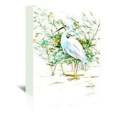 "East Urban Home Heron 3 Painting Print on Wrapped Canvas Size: 7"" H x 5"" W x 1.5"" D"