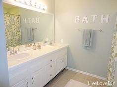 80's bathroom re-do - Sherwin Williams Sea Salt on walls, Behr Ultr Pure White semi gloss self-priming paint on vanity