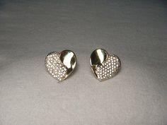 Beautiful Estate 14K Yellow Gold Pave Diamond Heart Stud Earrings
