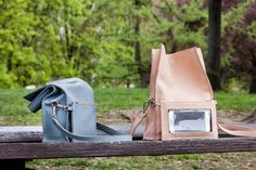 Leather Bags – Boxy Bag Blue – a unique product by AlicjaGetkaLab on DaWanda