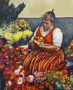 This painting was done from a photograph I took in Funchal during a visit to Madeira. Funchal, Figurative, South Africa, Oil On Canvas, Paintings, Fine Art, Contemporary, Female, Artwork
