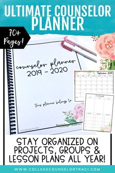 The ultimate school counselor planner (floral pink theme) will keep you organized all year long including individual and group counseling pages, lesson planner, weekly, monthly calendars and more! Features soft colors for ink-saving printing! Gorgeous layout! - College Counselor Traci School Counselor Office, High School Counseling, Counseling Office, Group Counseling, School Leadership, Educational Leadership, Educational Technology, Lesson Planner, Planner Pages