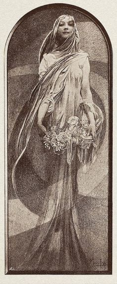 New Year by Alphonse Mucha, mezzotint print c. 1898