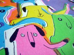 Dogs illustration, colourful neon, rainbow screen print 'DOG RAVE' £35.00