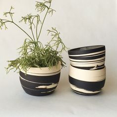 helen levi - black clay marbled planters