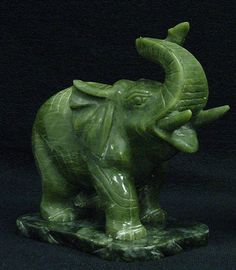 Asian Carved Jade Trunk Up Elephant Statue Sculpture Home Office Decor