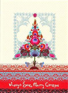 folk art pland | Polish Art Center - Polish Folk Christmas Card - Wycinanki Flower Tree