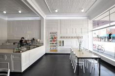 floating-effect recessed light simplicity cafe interior