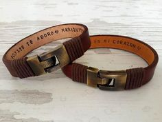 Couples Bracelets Set His Hers Personalized Leather