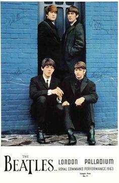 The Beatles Poster 27x40 In London Palladium 1963 Signatures 69x101 Cm Rare Oop