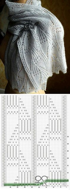 65 Ideas crochet stitches scarf knitted scarves for 2019 Knitting Charts, Lace Knitting, Knitting Stitches, Knitting Patterns Free, Knit Patterns, Knitted Shawls, Crochet Shawl, Knit Crochet, Knitted Scarves