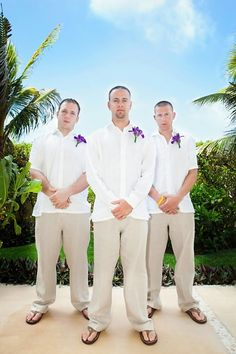 Beach wedding attire for groom and gm Beach Wedding Guest Attire, Beach Wedding Makeup, Beach Wedding Colors, Beach Wedding Reception, Destination Wedding, Beach Attire, Summer Wedding, Wedding Men, Dream Wedding