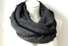 Black and grey Infinity herringbone scarf by Blackpeppertree