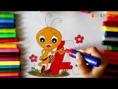 Letter A and cute Ant Coloring Page - Alphabet Coloring Pages for Kids - YouTube