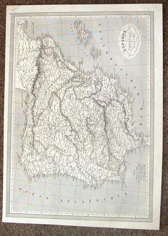 "Antique Map - ""ESPAGNE ET PORTUGAL"" by Monin - Steel Engraving - 1837"