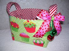 Your place to buy and sell all things handmade Cupcake Gift Baskets, Cookie Exchange Packaging, Spa Basket, Bin Storage, Holiday Candy, Fabric Gifts, Christmas Cupcakes, Cotton Quilting Fabric, Packaging Ideas