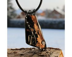 Golden Dust  Fused Glass Soldered Pendant Jewelry by AtelierQ
