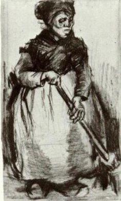 'Contadina con la scopa', gesso di Vincent Van Gogh (1853-1890, Netherlands)