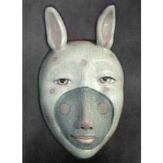 The Ether Bunny  Mask Sculpture Ceramic Face Pendant by unmasked, $75.00