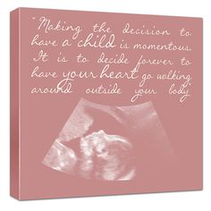 Your Ultrasound Sonogram image as Canvas Art - pick color and words New Parents 14x14