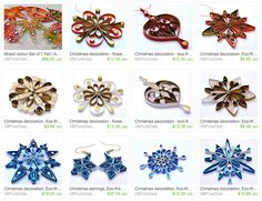 Fall and Winter Quilled Ornaments - by: Victoria Brewer - Pure Designs - on Etsy.com