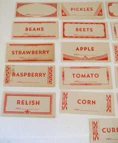 Antique Paper Labels Mason Jar  Canning Supplies Gummed 1930s Kitchen. $11.99, via Etsy.