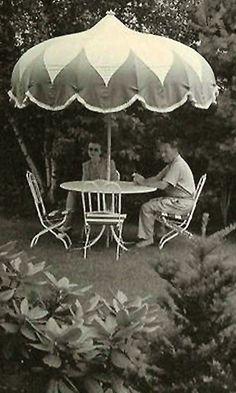 .Vintage patio umbrella.      t