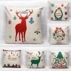 45X45cm Christmas Tree Red Deer Gift Fashion Cotton Linen Pillow Case Santa Claus Home Decor