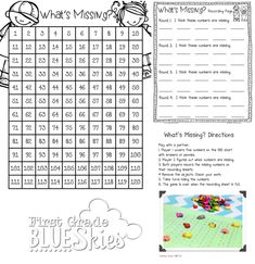 First Grade Blue Skies: Investigations Math Charts, Free Math Worksheets, Math Resources, Math Strategies, First Grade Activities, 1st Grade Math, Math Activities, Math Games, Fun Math