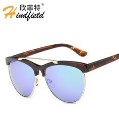 >> Click to Buy << Half frame aviator style colourful film mirror sunglasses for women Fashion classic brand designer oculos de sol feminino shades #Affiliate