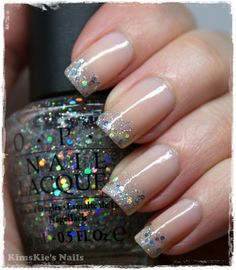 #OPI #Bubblebath + OPI Servin' Up #Sparkle (Serena Williams Collection), #Glitter tips #kimskienails