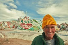 Leonard Knight, Salvation Mountain. Salvation Mountain is an art installation covering a hill north of Calipatria, California, near Slab City and just several miles from the Salton Sea. It is made from adobe, straw, and thousands of gallons of paint. Niland, CA 92257