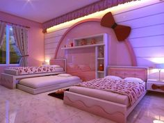 Teenage girls bedroom paint ideas little girl bedroom paint ideas girl wall paint designs kids room paint ideas paint colors for cool teenage bedroom paint Hello Kitty Bedroom, Cat Bedroom, Kawaii Bedroom, Small Room Bedroom, Kids Bedroom, Small Rooms, Bedroom Decor, Bed Room, Small Space