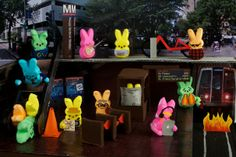 Escalator Collapse at Peepy Bottom/Peep Art #ExpressYourPeepsonality Easter Peeps, Happy Easter, Peep Show, Lego Movie, Funny Signs, Crafts For Kids, Gallery, Projects, School Counseling