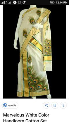 Saree Painting Designs, Fabric Paint Designs, Dress Painting, Fabric Painting, Mural Art, Murals, Kerala Mural Painting, Kerala Saree, Indian Designer Wear