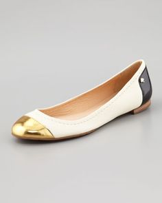 terry leather cap-toe ballerina flat by kate spade new york at Neiman Marcus.